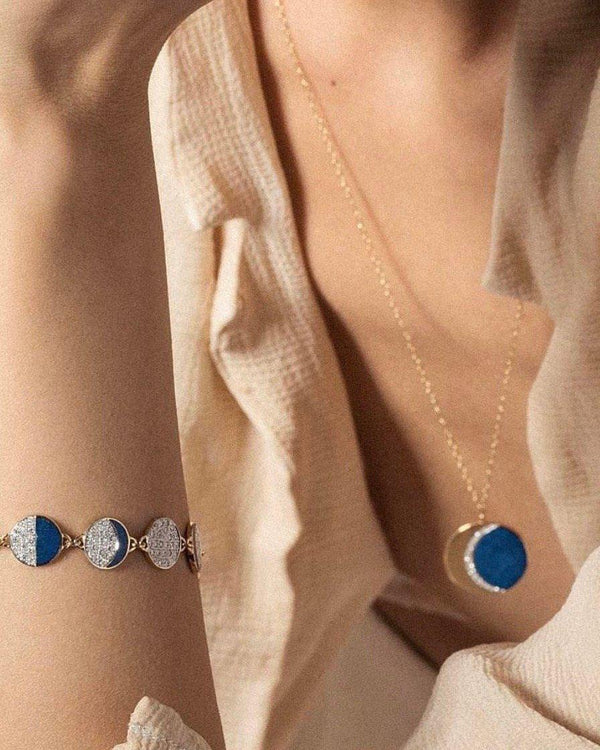 lapis inlay moon phase bracelet on the model