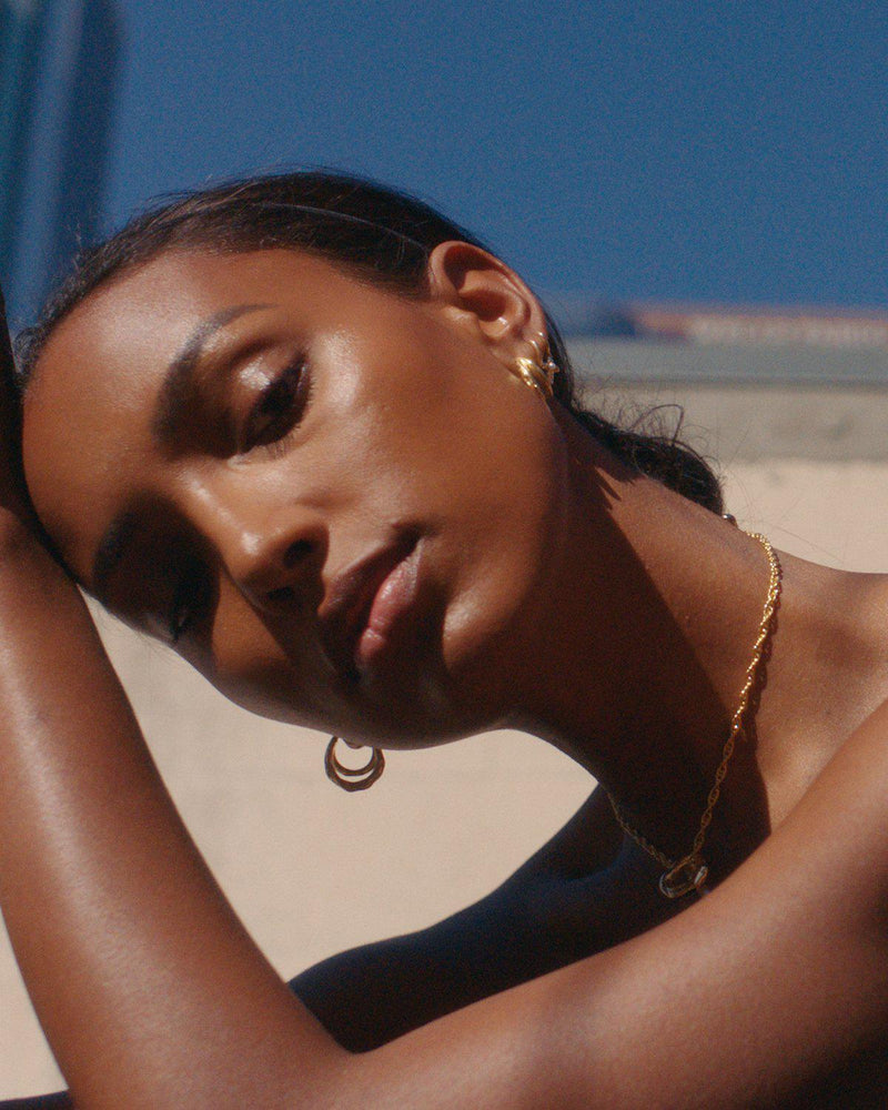 Jasmine Tookes with Pamela Love jewelry
