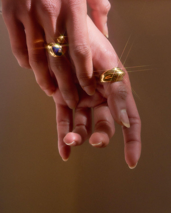 gold dome rings on the model