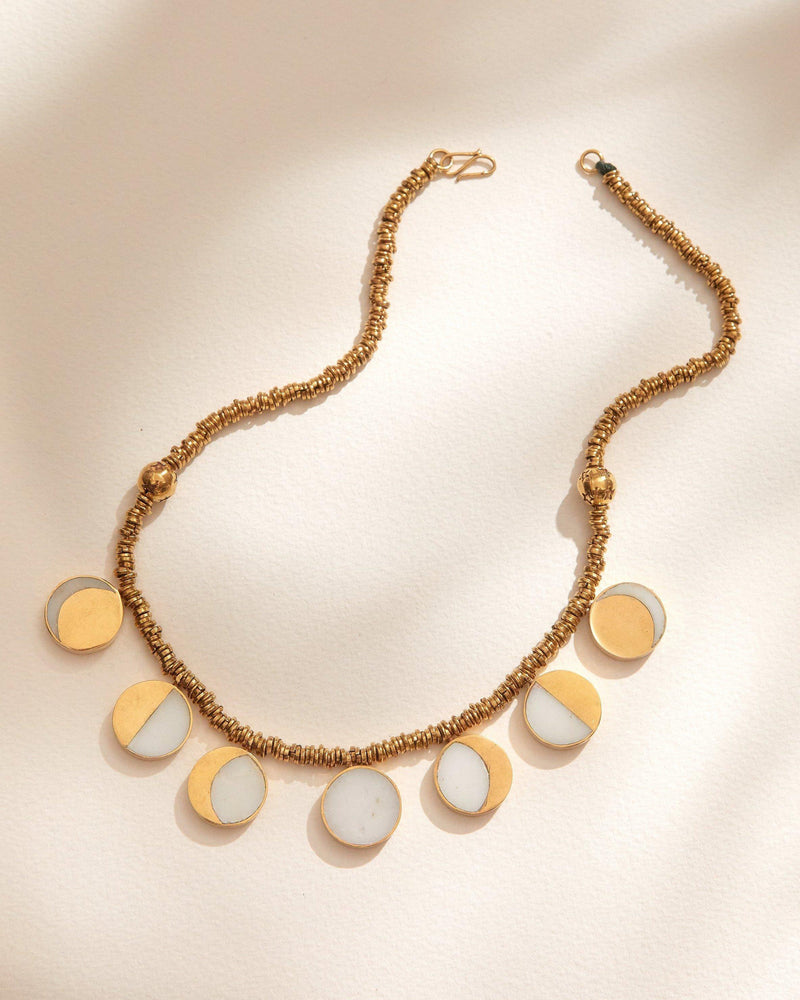 kyleigh kuhns signature moon phase necklace with white quartz