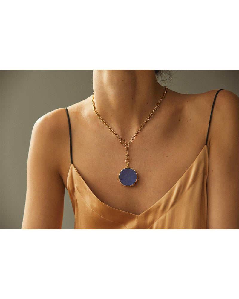 lapis full moon necklace on the model