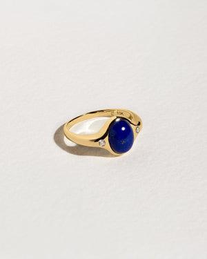 mini essential ring with lapis lazuli and diamonds