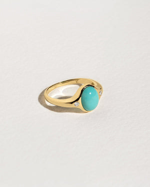 turquoise ring with white diamonds and 14k yellow gold