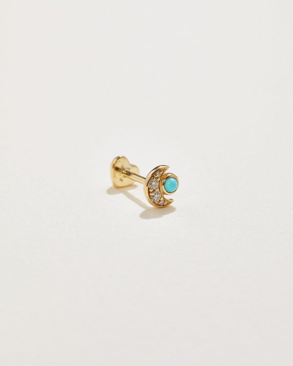 crescent cluster stud with white diamonds and turquoise