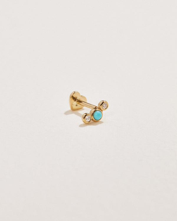 turquoise and diamonds stud earring