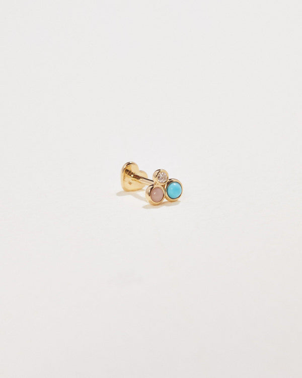 trio stud earring with turquoise, diamond and pink opal