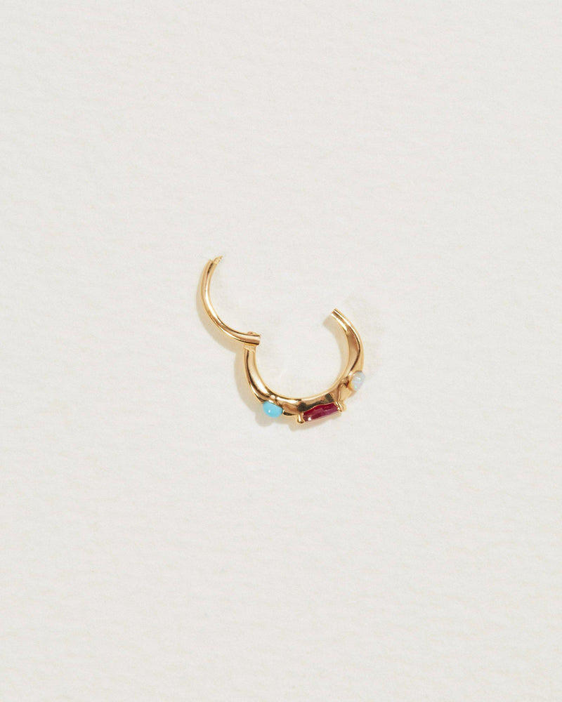 8mm multi stone gold clicker piercing