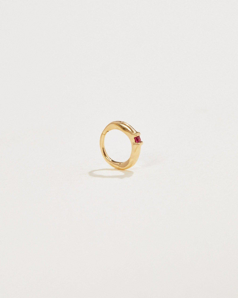 8mm Floating Square Ruby Huggie