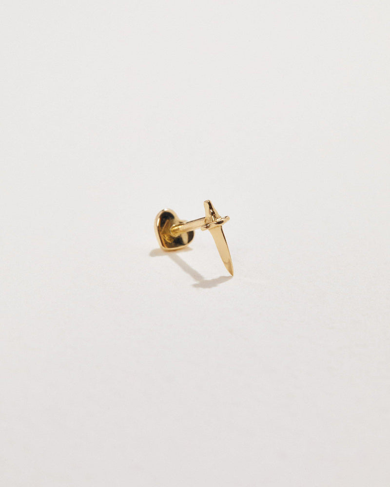 14k yellow gold dagger stud
