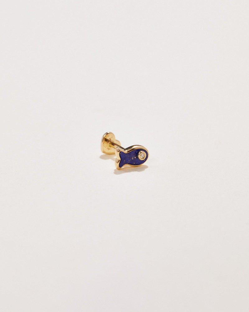 lapis lazuli fish stud earring with white diamond