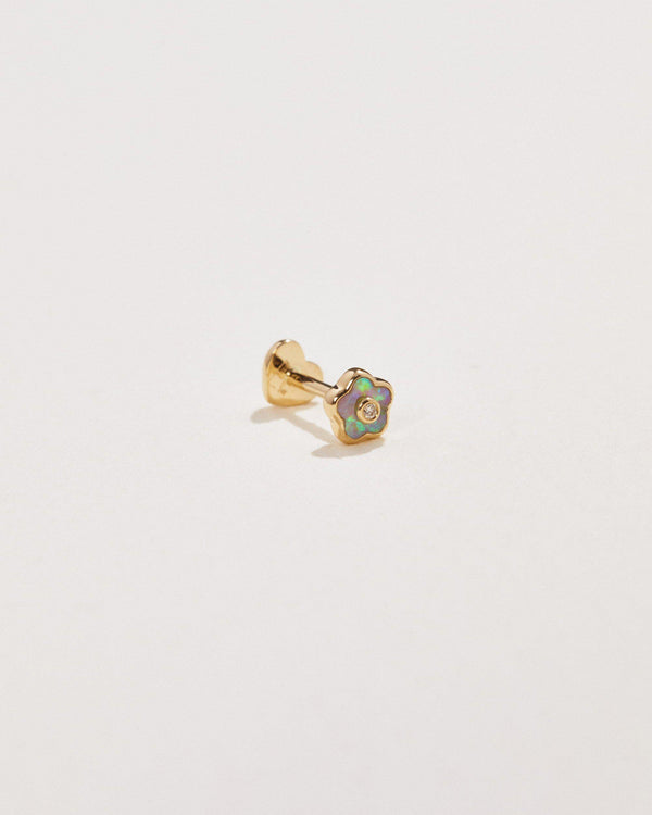 opal flower stud piercing with white diamond
