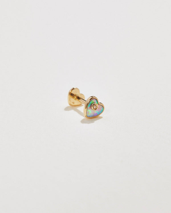 heart stud earring with opal and diamond