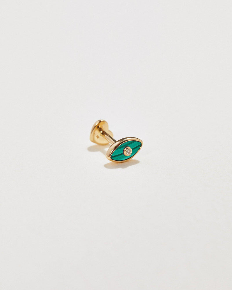 eye diamond stud piercing with malachite