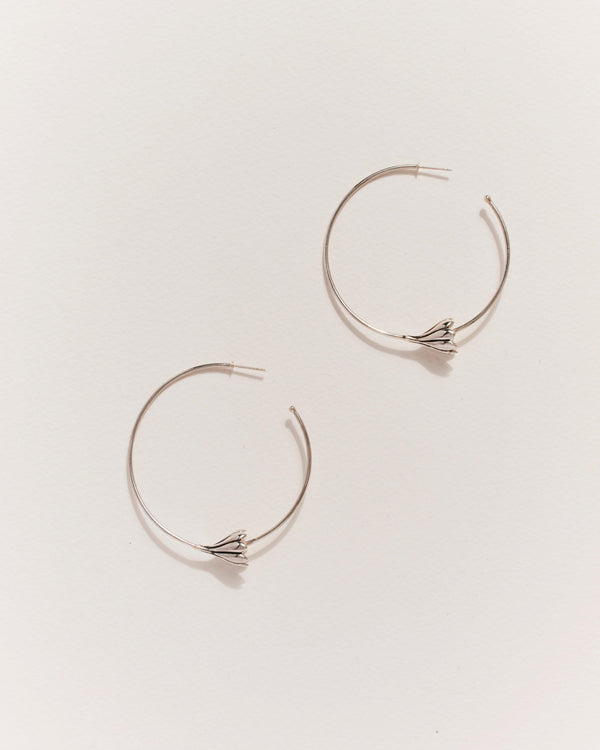 silver anemone hoop earrings