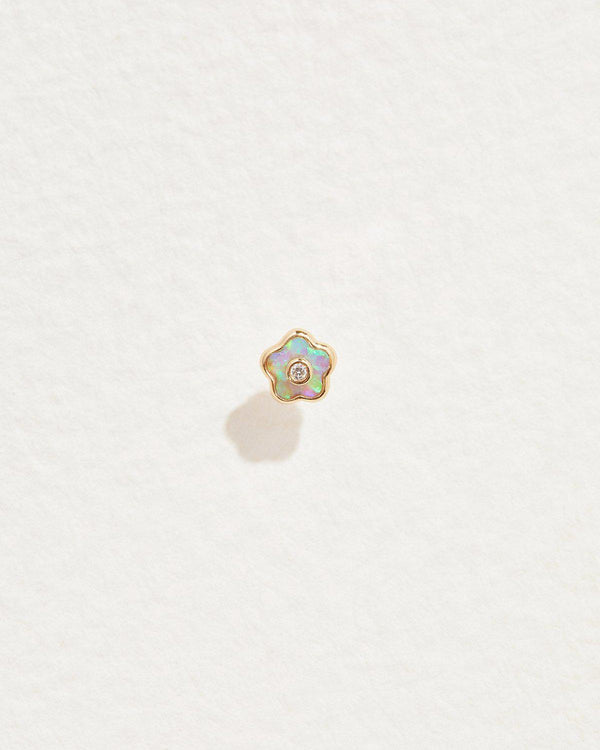 opal flower stud earring with diamond