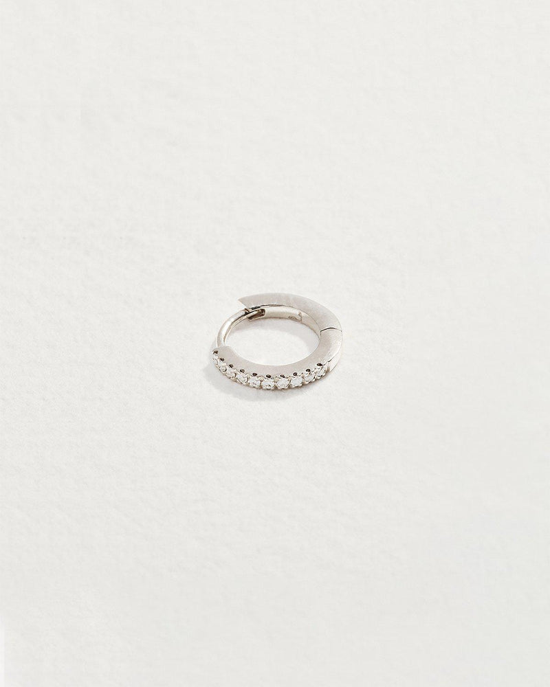 diamond huggie earring with white gold
