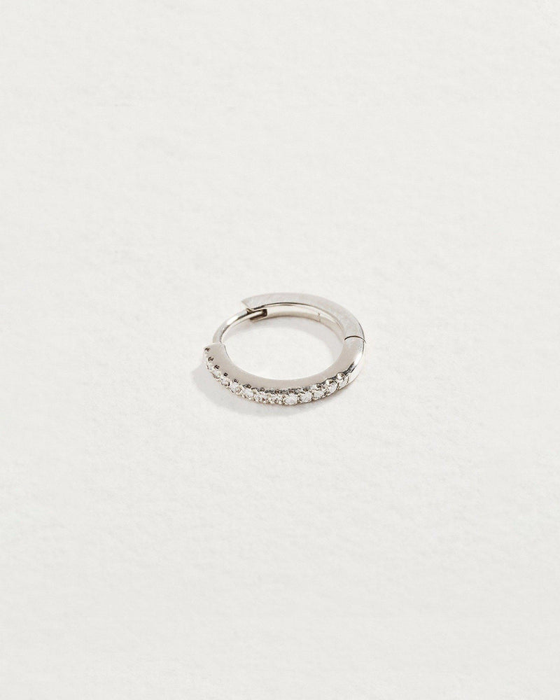 diamond huggie earring with 14k white gold