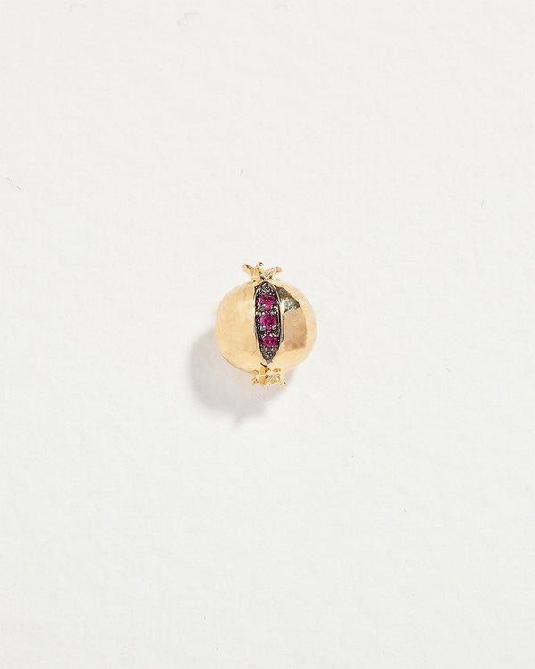 pomegranate stud piercing with ruby and gold