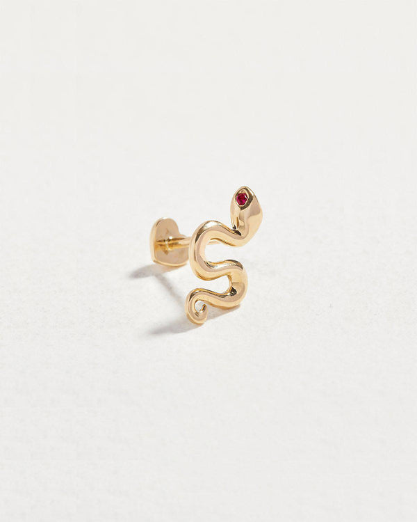 ruby eye snake stud earring