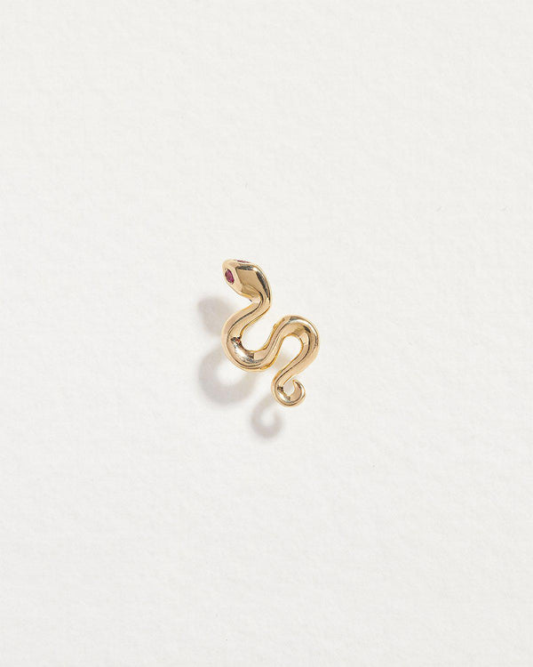 snake stud earring with gold and ruby