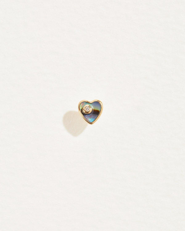 heart abalone stud piercing with white diamond