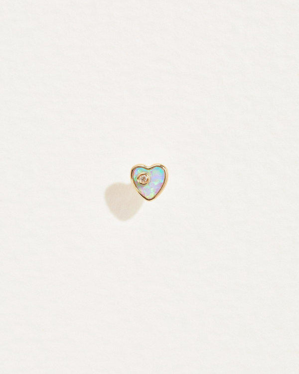 heart diamond stud earring with opal