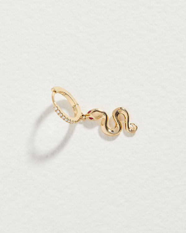 snake ruby pave huggie earring with white diamonds