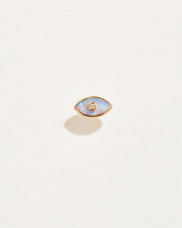 eye diamond stud piercing with opal and 14k gold