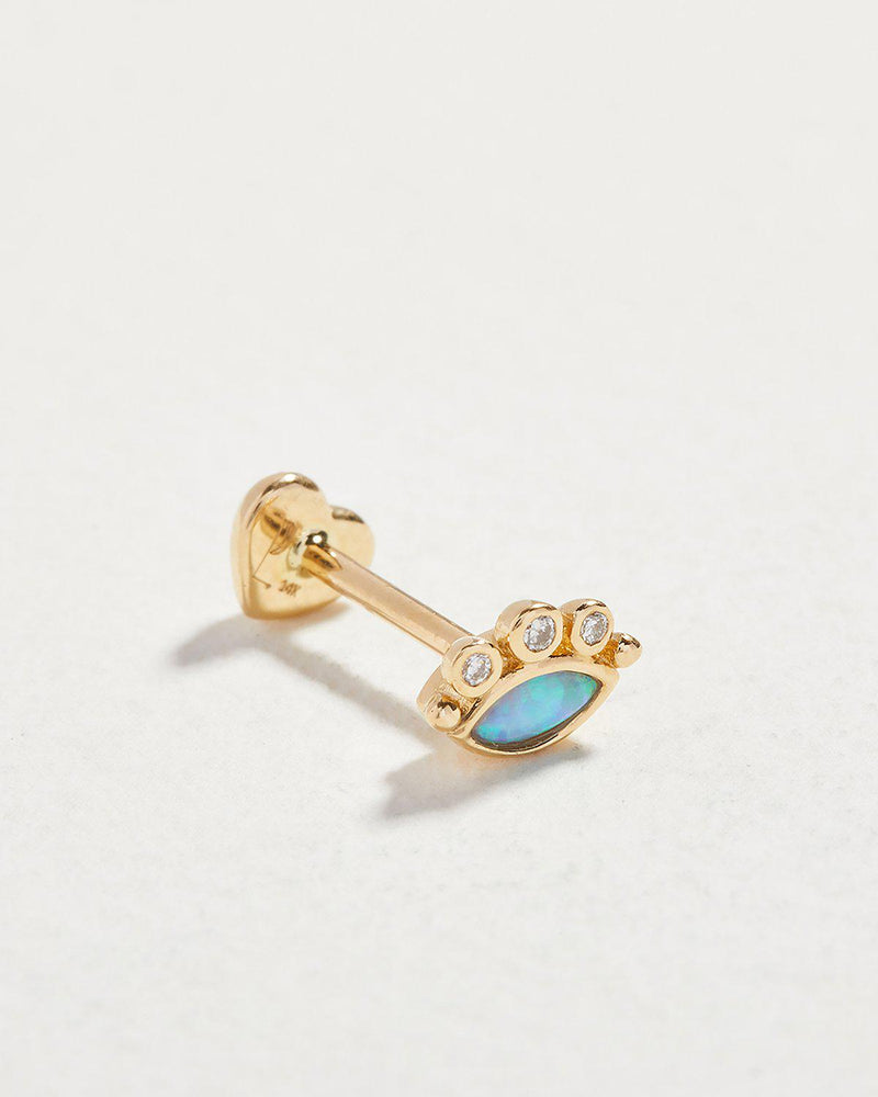 celestial eye stud piercing with opal and diamonds