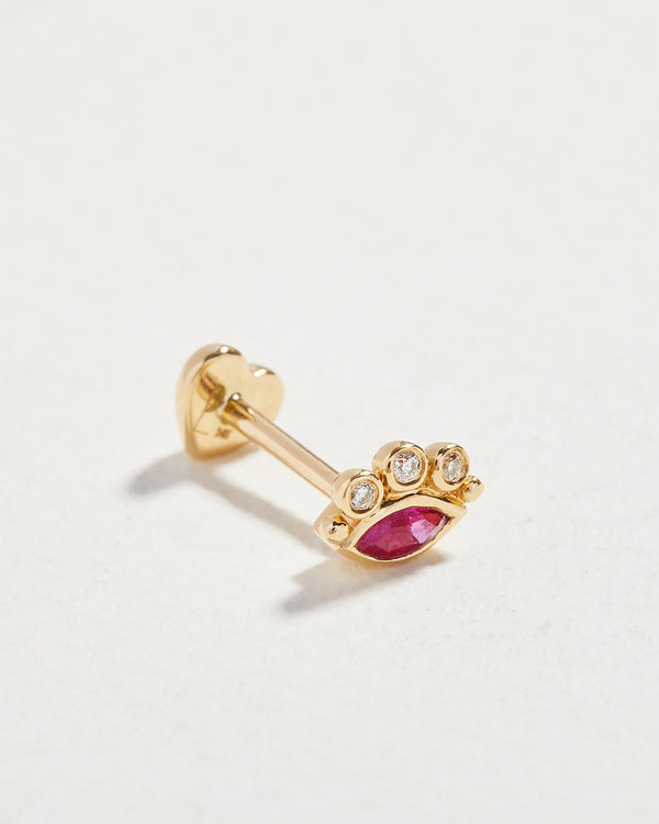 celestial eye stud with ruby and diamonds