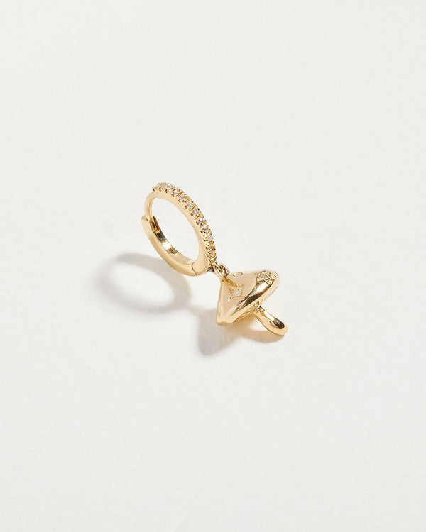gold mushroom huggie earring with white diamonds