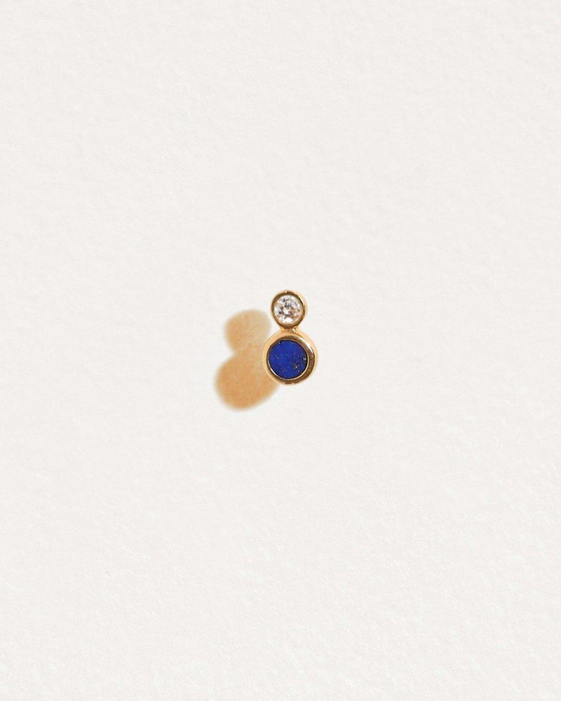 lapis and diamond stud piercing