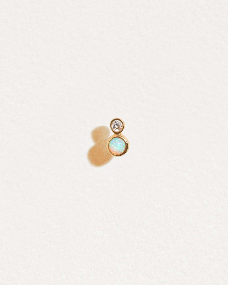 double dot stud with opal and white diamond