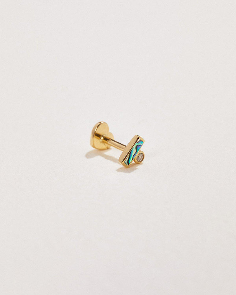 abalone stud earring with white diamond