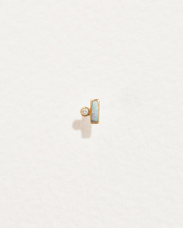 opal bar dot stud earring with white diamond