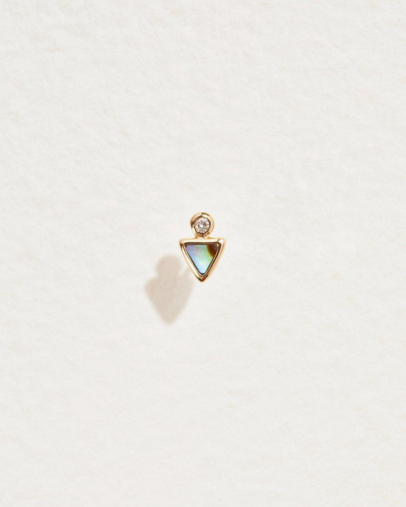triangle dot stud with abalone and white diamond