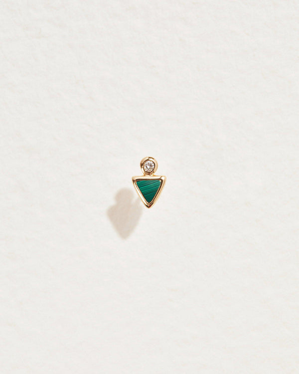 triangle dot stud with malachite and diamond