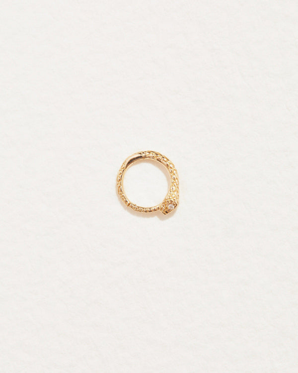 snake clicker piercing with 14k yellow gold and diamonds