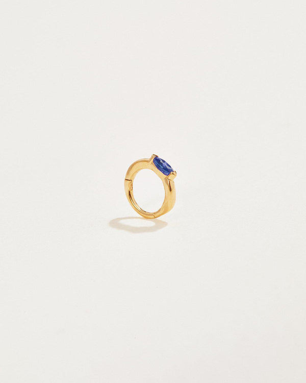 6mm Floating Oval Sapphire Huggie