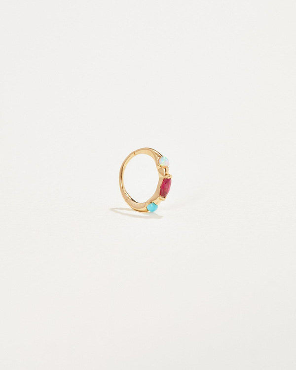 8mm multi stone huggie piercing with ruby, opal, turquoise