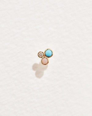 bezel set trio stud with pink opal, turquoise and white diamond