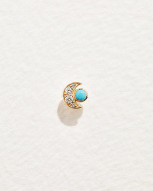 crescent stud earring with diamonds and turquoise