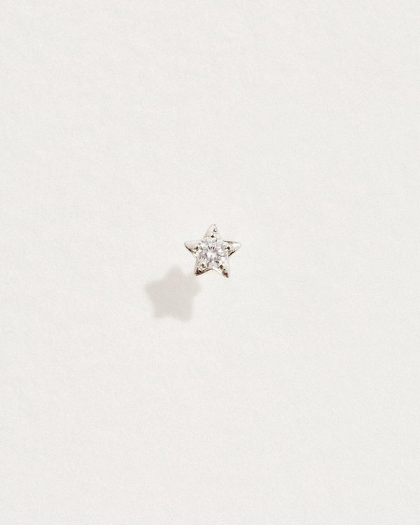 diamond star stud piercing with white gold