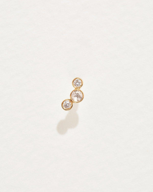 Bezel Set Crescent Stud