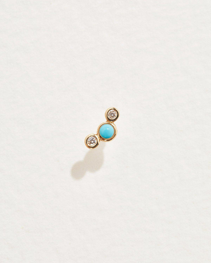 bezel set crescent stud with white diamonds and turquoise