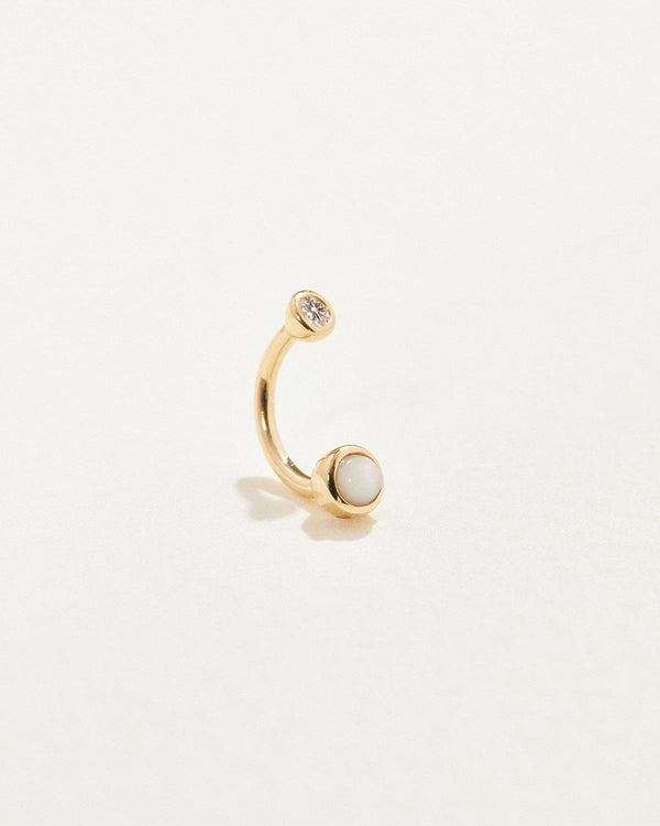 gravitation hook gold piercing with white diamond