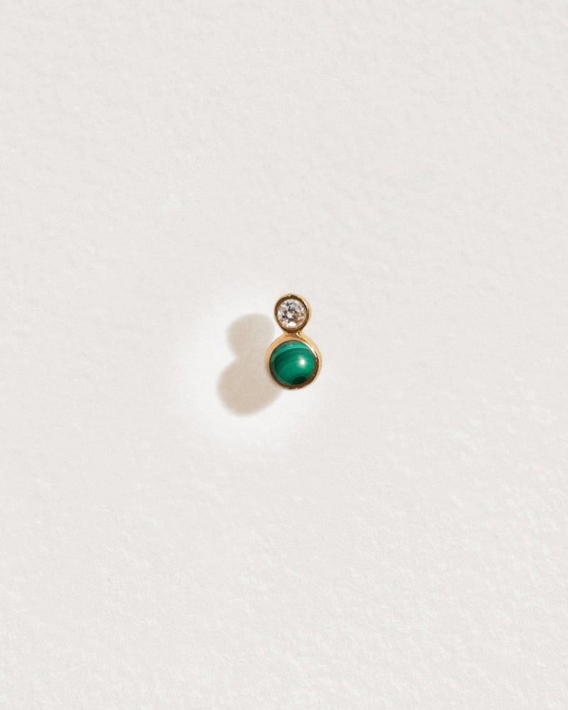 double dot stud piercing with malachite and white diamond