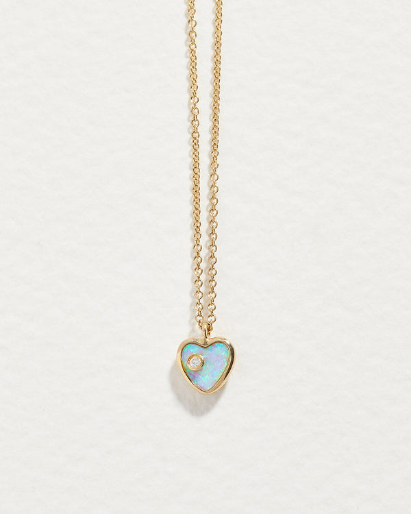mini inlay heart pendant with opal and diamond