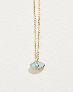 mini inlay eye pendant with opal and diamond