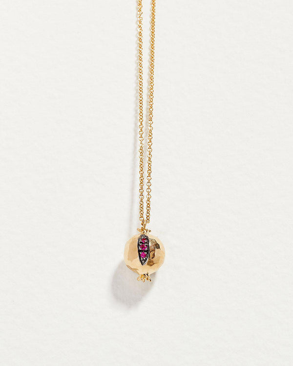 gold pomegranate necklace with ruby